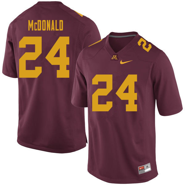 Men #24 Bishop McDonald Minnesota Golden Gophers College Football Jerseys Sale-Maroon
