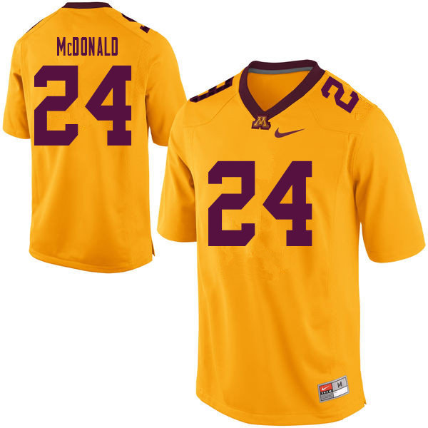 Men #24 Bishop McDonald Minnesota Golden Gophers College Football Jerseys Sale-Yellow
