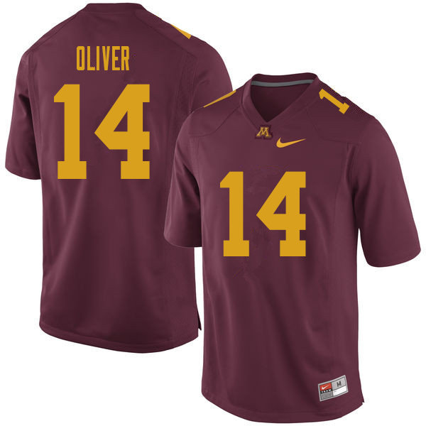 Men #14 Braelen Oliver Minnesota Golden Gophers College Football Jerseys Sale-Maroon