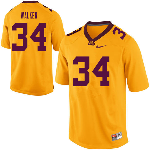 Men #34 Brock Walker Minnesota Golden Gophers College Football Jerseys Sale-Yellow