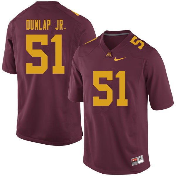 Men #51 Curtis Dunlap Jr. Minnesota Golden Gophers College Football Jerseys Sale-Maroon