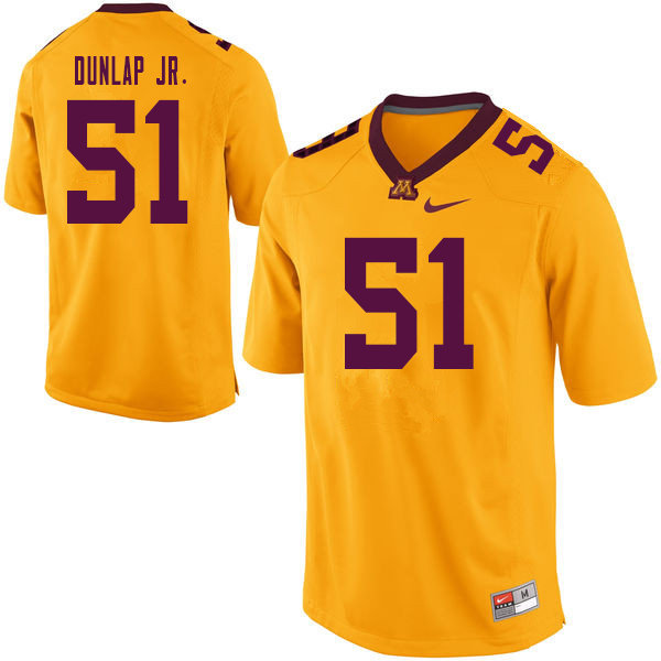 Men #51 Curtis Dunlap Jr. Minnesota Golden Gophers College Football Jerseys Sale-Yellow