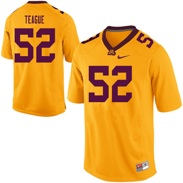 Men #52 Elijah Teague Minnesota Golden Gophers College Football Jerseys Sale-Yellow