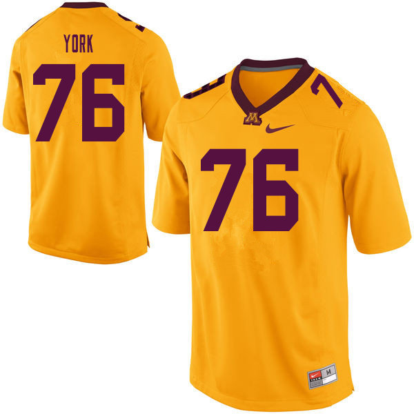 Men #76 Jack York Minnesota Golden Gophers College Football Jerseys Sale-Yellow
