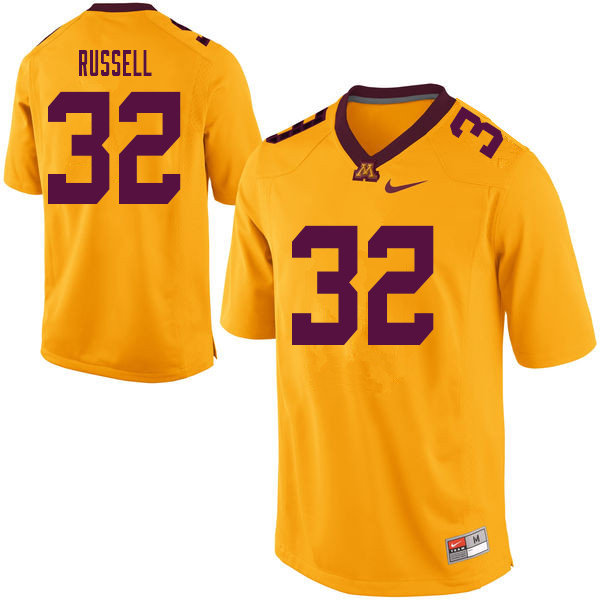 Men #32 Joe Russell Minnesota Golden Gophers College Football Jerseys Sale-Yellow