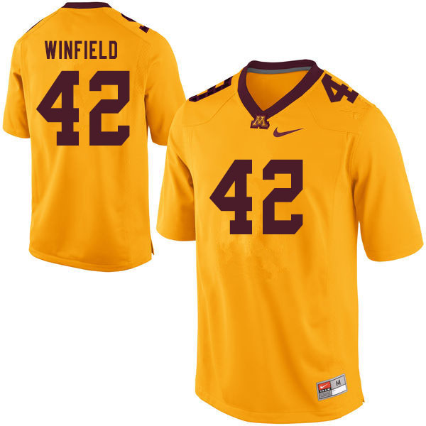 Men #42 Austin Winfield Minnesota Golden Gophers College Football Jerseys Sale-Yellow