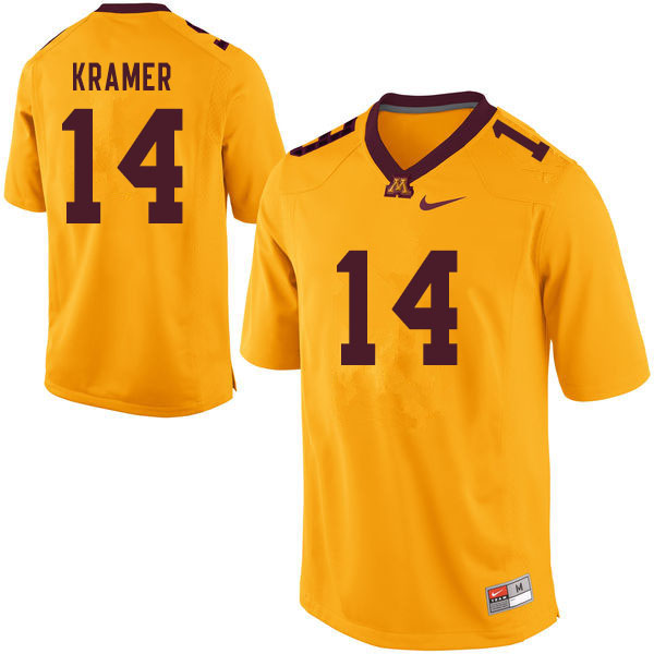 Men #14 Cole Kramer Minnesota Golden Gophers College Football Jerseys Sale-Yellow