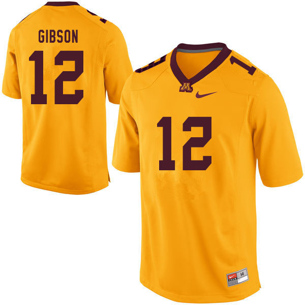 Men #12 Erik Gibson Minnesota Golden Gophers College Football Jerseys Sale-Yellow