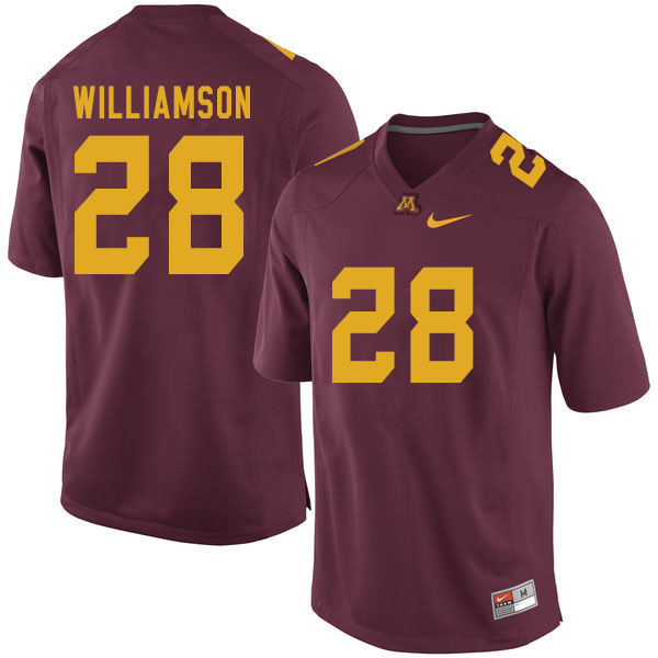 Men #28 Jason Williamson Minnesota Golden Gophers College Football Jerseys Sale-Maroon