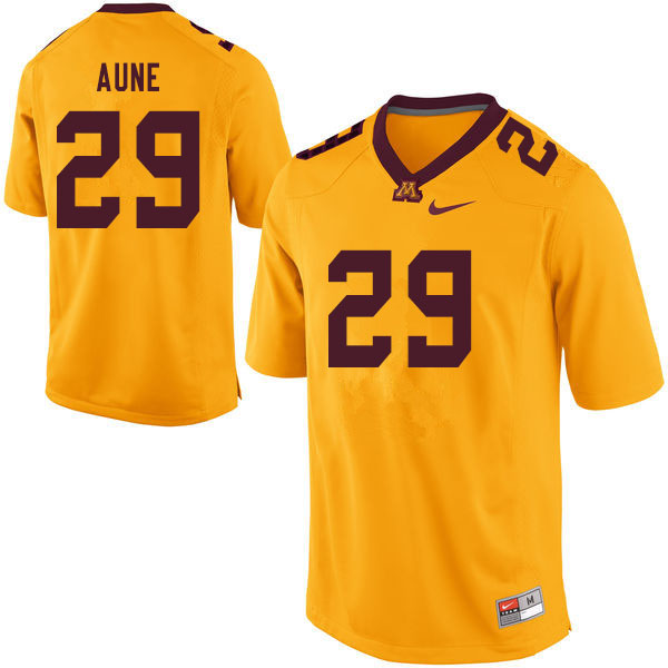 Men #29 Josh Aune Minnesota Golden Gophers College Football Jerseys Sale-Yellow