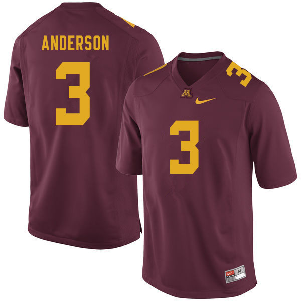 Men #3 MJ Anderson Minnesota Golden Gophers College Football Jerseys Sale-Maroon