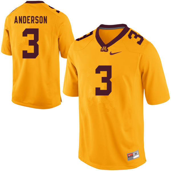 Men #3 MJ Anderson Minnesota Golden Gophers College Football Jerseys Sale-Yellow