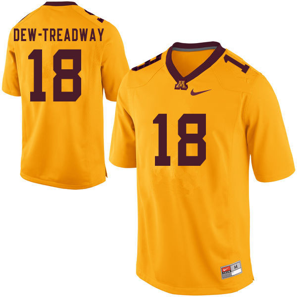 Men #18 Micah Dew-Treadway Minnesota Golden Gophers College Football Jerseys Sale-Yellow