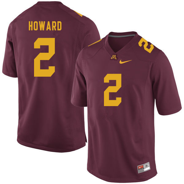 Men #2 Phillip Howard Minnesota Golden Gophers College Football Jerseys Sale-Maroon