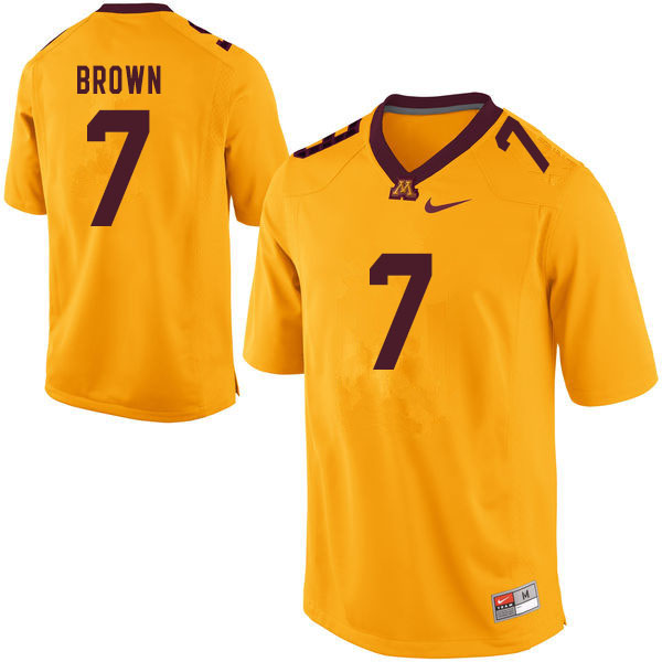Men #7 Solomon Brown Minnesota Golden Gophers College Football Jerseys Sale-Yellow