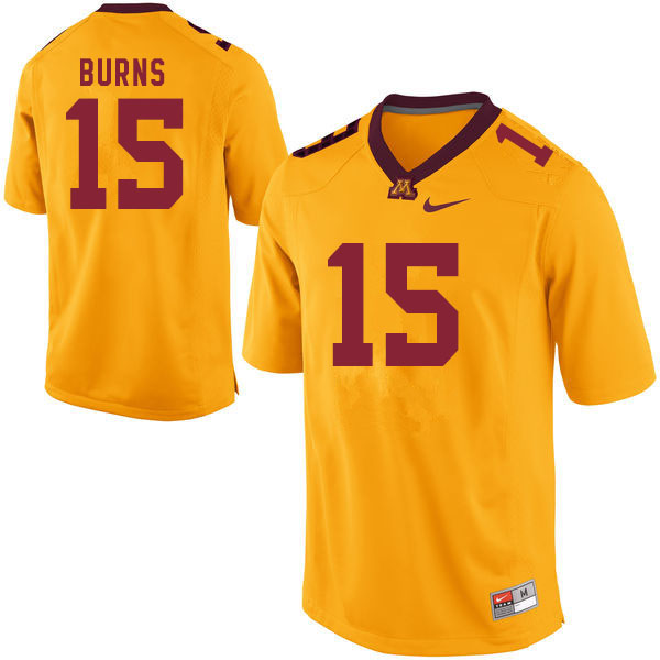 Men #15 Jaqwondis Burns Minnesota Golden Gophers College Football Jerseys Sale-Gold