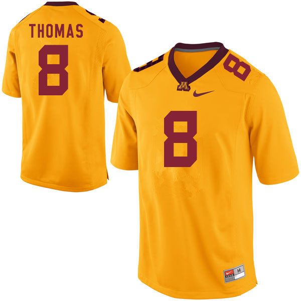 Men #8 Ky Thomas Minnesota Golden Gophers College Football Jerseys Sale-Gold