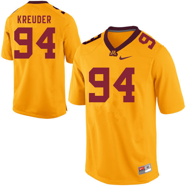Men #94 Melle Kreuder Minnesota Golden Gophers College Football Jerseys Sale-Gold