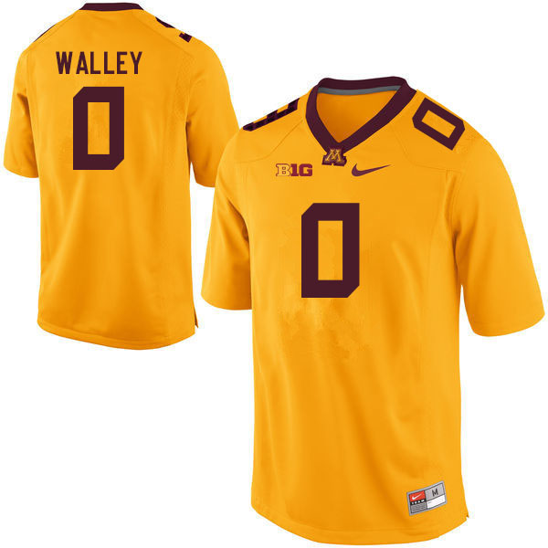 Men #0 Justin Walley Minnesota Golden Gophers College Football Jerseys Sale-Gold