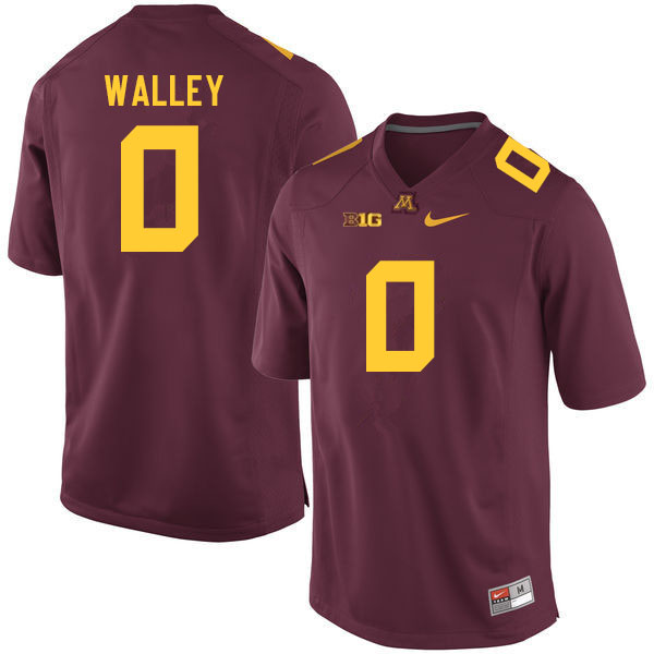 Men #0 Justin Walley Minnesota Golden Gophers College Football Jerseys Sale-Maroon