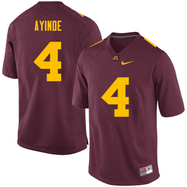 Men #4 Adekunle Ayinde Minnesota Golden Gophers College Football Jerseys Sale-Maroon