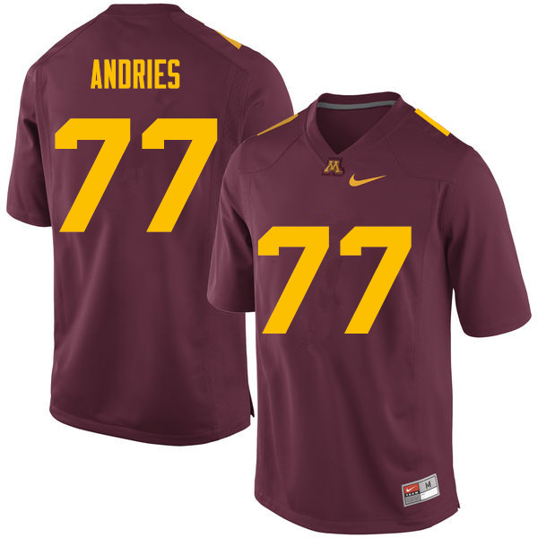 Men #77 Blaise Andries Minnesota Golden Gophers College Football Jerseys Sale-Maroon