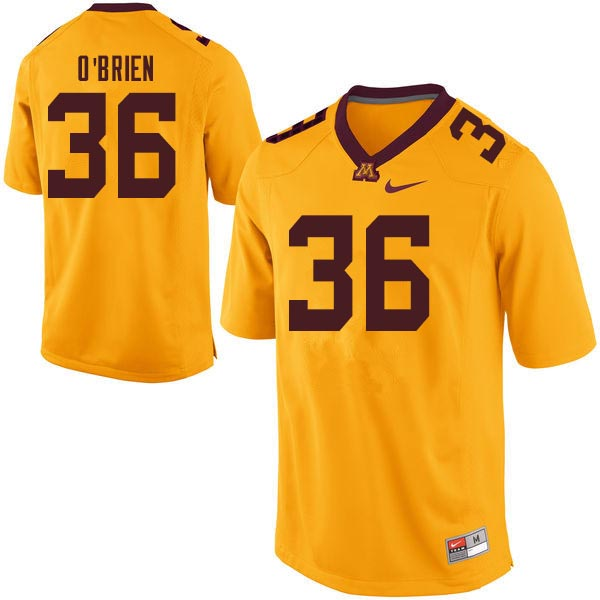 Men #36 Casey O'Brien Minnesota Golden Gophers College Football Jerseys Sale-Gold
