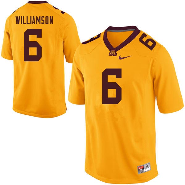Men #6 Chris Williamson Minnesota Golden Gophers College Football Jerseys Sale-Gold