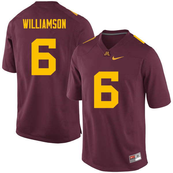 Men #6 Chris Williamson Minnesota Golden Gophers College Football Jerseys Sale-Maroon