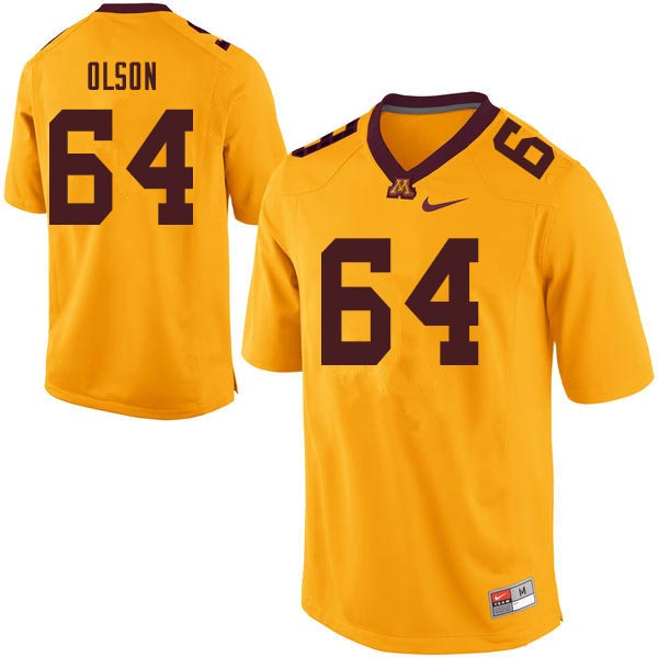 Men #64 Conner Olson Minnesota Golden Gophers College Football Jerseys Sale-Gold