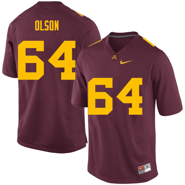 Men #64 Conner Olson Minnesota Golden Gophers College Football Jerseys Sale-Maroon