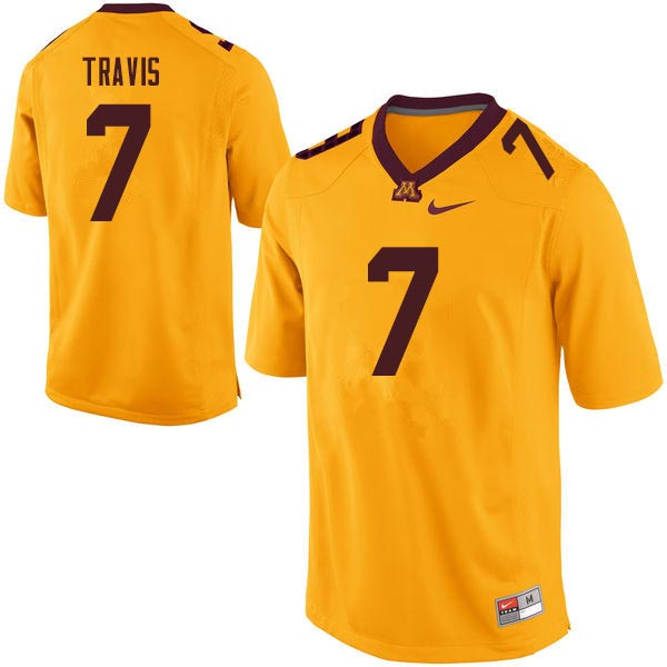 Men #7 Damarius Travis Minnesota Golden Gophers College Football Jerseys Sale-Gold