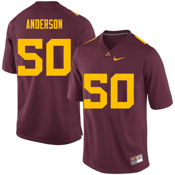 Men #50 Danny Anderson Minnesota Golden Gophers College Football Jerseys Sale-Maroon