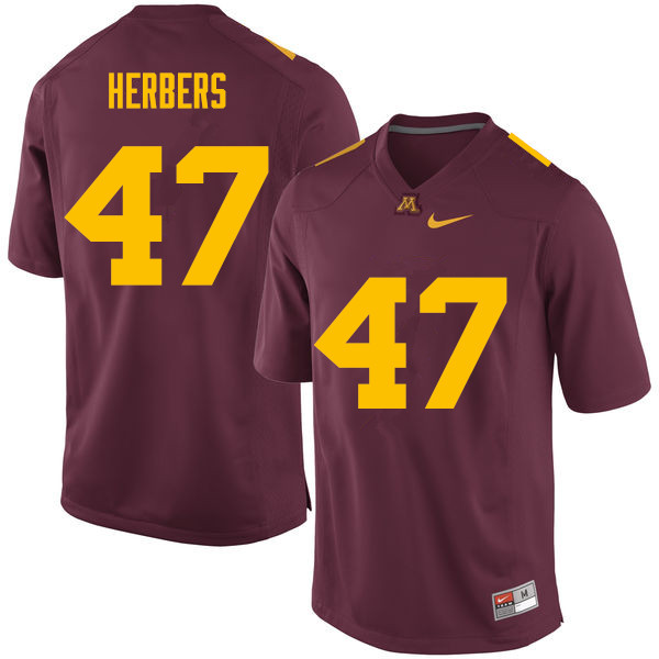 Men #47 Jacob Herbers Minnesota Golden Gophers College Football Jerseys Sale-Maroon