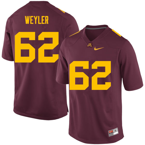 Men #62 Jared Weyler Minnesota Golden Gophers College Football Jerseys Sale-Maroon