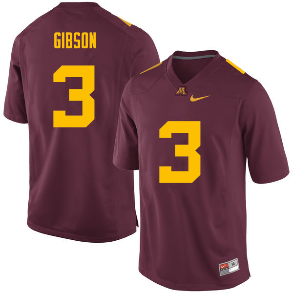 Men #3 Jerry Gibson Minnesota Golden Gophers College Football Jerseys Sale-Maroon