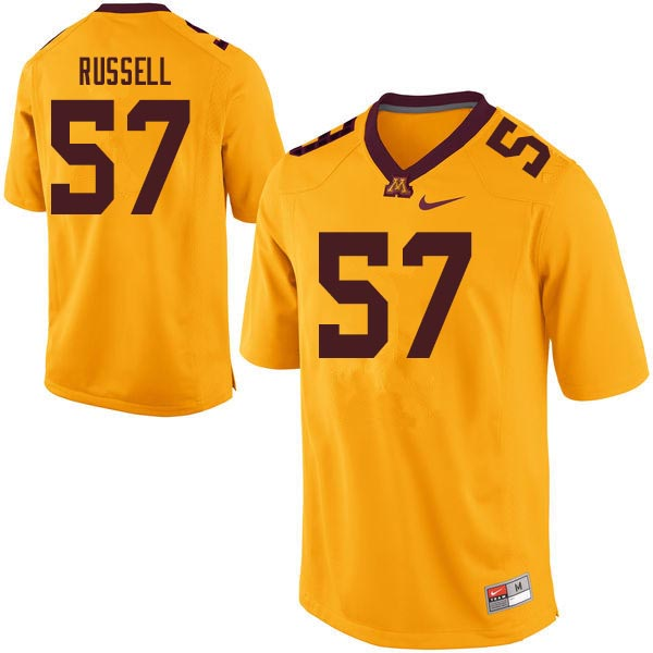 Men #57 Joe Russell Minnesota Golden Gophers College Football Jerseys Sale-Gold