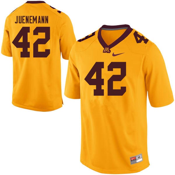 Men #42 Justin Juenemann Minnesota Golden Gophers College Football Jerseys Sale-Gold