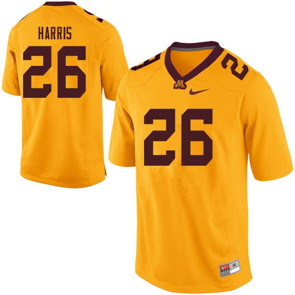 Men #26 Justus Harris Minnesota Golden Gophers College Football Jerseys Sale-Gold