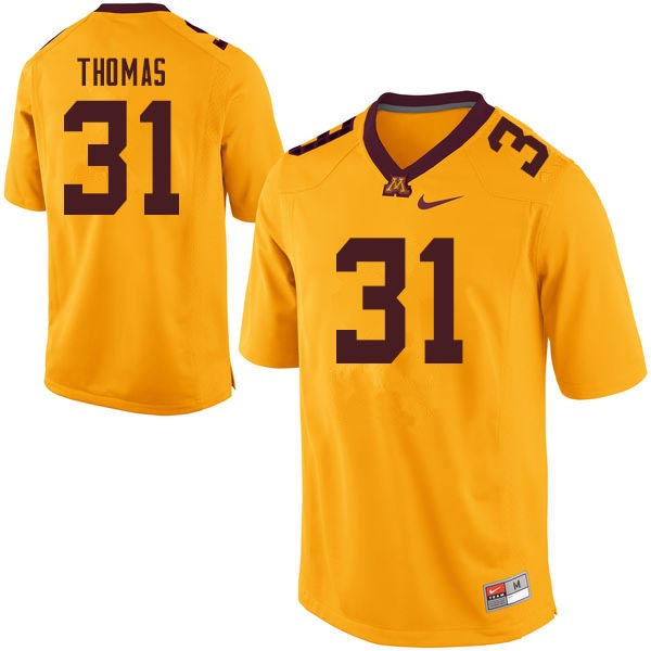 Men #31 Kiondre Thomas Minnesota Golden Gophers College Football Jerseys Sale-Gold