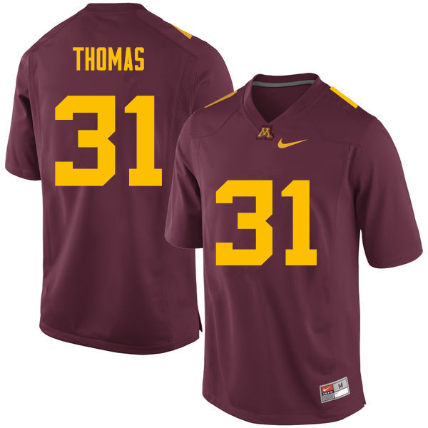 Men #31 Kiondre Thomas Minnesota Golden Gophers College Football Jerseys Sale-Maroon