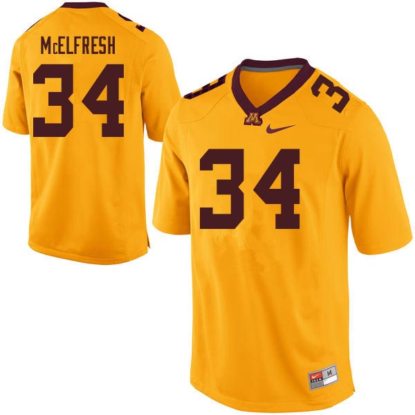 Men #34 Logan McElfresh Minnesota Golden Gophers College Football Jerseys Sale-Gold