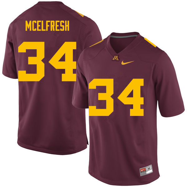 Men #34 Logan McElfresh Minnesota Golden Gophers College Football Jerseys Sale-Maroon
