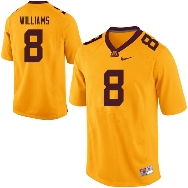 Men #8 Mark Williams Minnesota Golden Gophers College Football Jerseys Sale-Gold