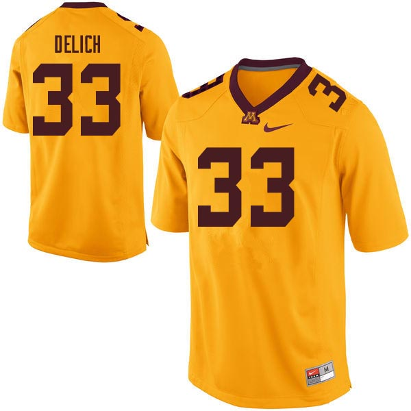 Men #33 Mike Delich Minnesota Golden Gophers College Football Jerseys Sale-Gold