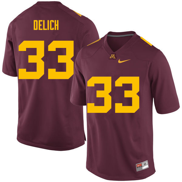 Men #33 Mike Delich Minnesota Golden Gophers College Football Jerseys Sale-Maroon