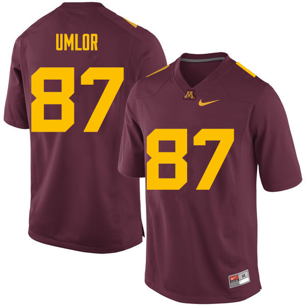Men #87 Nate Umlor Minnesota Golden Gophers College Football Jerseys Sale-Maroon