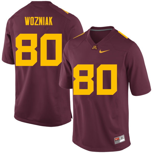Men #80 Nate Wozniak Minnesota Golden Gophers College Football Jerseys Sale-Maroon