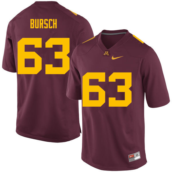 Men #63 Nathan Bursch Minnesota Golden Gophers College Football Jerseys Sale-Maroon