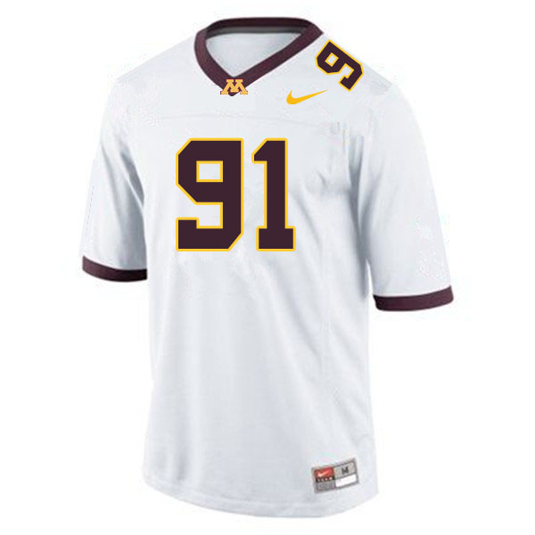 Men #91 Noah Hickcox Minnesota Golden Gophers College Football Jerseys Sale-White